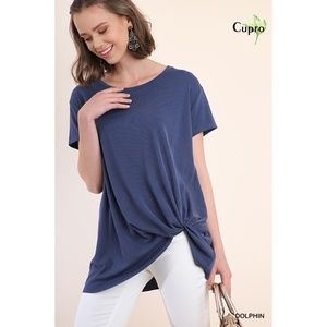 NEW Short Sleeve Ribbed Top with Gathered Knot